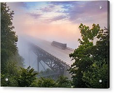 Nrb184 New River Bridge In The Fog Acrylic Print by Mary Almond