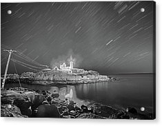 Nubble Light In York Me Hurtling Through Space Cape Neddick Black And White Acrylic Print