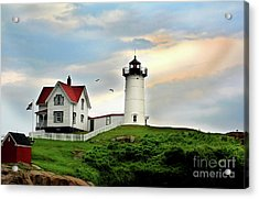 Nubble Lighthouse Acrylic Print by Adrian LaRoque