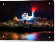 Nubble Lighthouse At Night - Cape Neddick Maine Acrylic Print