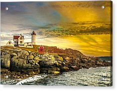 Nubble Lighthouse At Sunset Acrylic Print by Ken Marsh