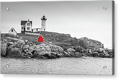 Nubble Lighthouse In Color And Black And White Acrylic Print