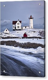 Nubble Lighthouse In The Snow Acrylic Print by Eric Gendron