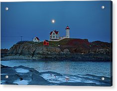 Acrylic Print featuring the photograph Nubble Lighthouse Lit For Christmas by Jeff Folger