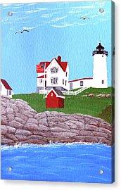 Nubble Lighthouse Painting Acrylic Print by Frederic Kohli