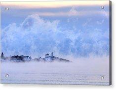 Nubble Lighthouse Sunrise With Sea Smoke - York, Maine Acrylic Print