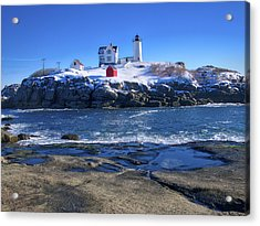 Nubble Lighthouse -winter 2015 Acrylic Print by Steven Ralser