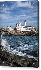 Nubble Lighthouse Winter Acrylic Print