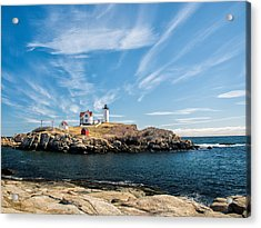 Nubble Lighthouse With Dramatic Clouds Acrylic Print