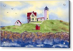 Nubble Lighthouse York Maine  Acrylic Print by Roseann Meserve
