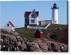 Nubble Point Lighthouse Acrylic Print by George Oze