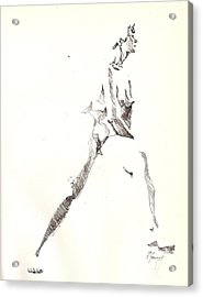 Acrylic Print featuring the drawing Nude 6 by R  Allen Swezey