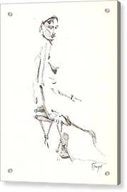 Acrylic Print featuring the drawing Nude 8 by R  Allen Swezey