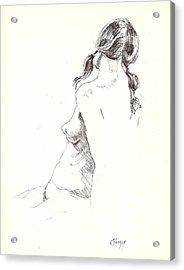 Acrylic Print featuring the drawing Nude 9 by R  Allen Swezey