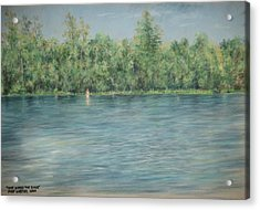 Nude Across The River Acrylic Print by Larry Whitler