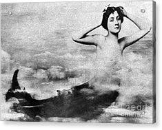 Nude As Mermaid, 1890s Acrylic Print by Granger