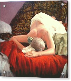 Acrylic Print featuring the painting Nude At Rest 1 by Donelli  DiMaria