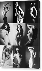 Nude Bw Collage  Acrylic Print by Falko Follert
