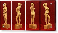 Nude Female Impressionistic Wood Sculpture Donna Acrylic Print by Mike Burton