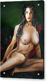 Acrylic Print featuring the painting Nude Female Portrait Jean Seated by G Linsenmayer