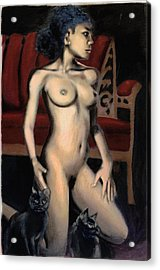 Acrylic Print featuring the painting Nude Female Woman Kneeling With Cats by G Linsenmayer