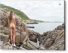 Nude Girl On Rocks Acrylic Print