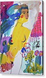 Nude In A Garden Acrylic Print