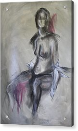 Nude In Black And Red Acrylic Print by Sandra Taylor-Hedges