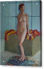 Nude In North Light Copyrighted Acrylic Print by Kathleen Hoekstra