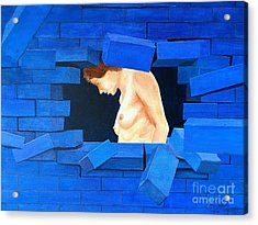 Nude Lady Through Exploding Wall Acrylic Print