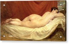 Nude Lying On A Sofa Against A Red Curtain Acrylic Print by William Etty