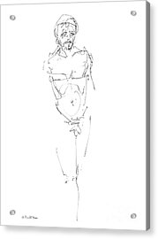 Nude Male Drawings 9 Acrylic Print by Gordon Punt