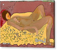 Nude Model In Relax Acrylic Print by Carlos Camus