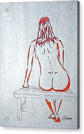 Nude On Bench Acrylic Print