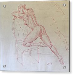 Nude On Chair Acrylic Print by Alejandro Lopez-Tasso