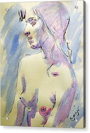 Nude Portrait Drawing Sketch Of Young Nude Woman Feeling Sensual Sexy And Lonely Watercolor Acrylic Acrylic Print