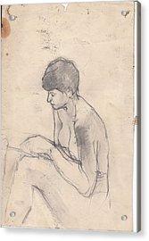 Nude Reading Acrylic Print by Brian Francis Smith