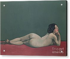 Nude Stretched Out On A Piece Of Cloth Acrylic Print