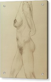 Nude Torso Standing Acrylic Print by Rand Swift