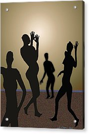 Nude Volleyball Acrylic Print by Jerry Cooper
