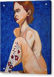 Acrylic Print featuring the painting Nude With Flower Tatoo by Esther Newman-Cohen