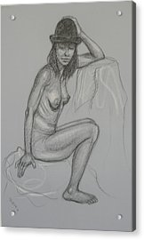 Nude With Hat 1 Acrylic Print by Donelli  DiMaria
