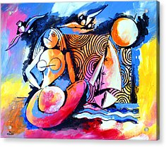 Nude Woman And Sailboat Acrylic Print