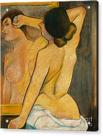 Nude Woman In Front Of A Mirror Acrylic Print