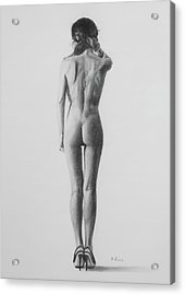 Nude Woman In High Heels Drawing Acrylic Print
