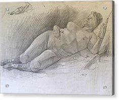 Nude Woman Resting Acrylic Print by Alejandro Lopez-Tasso