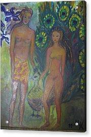 Nudes Elation Acrylic Print by Maria  Kolucheva
