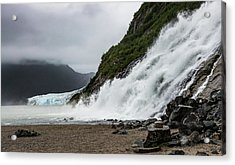 Acrylic Print featuring the photograph Nugget Falls And The Mendenhall by Ed Clark