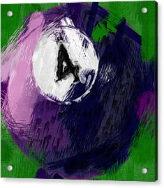 Number Four Billiards Ball Abstract Acrylic Print by David G Paul