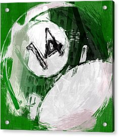 Number Fourteen Billiards Ball Abstract Acrylic Print by David G Paul